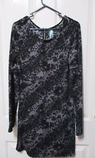 Ladies long black and grey Long sleeved Top size 12 Luscious brand
