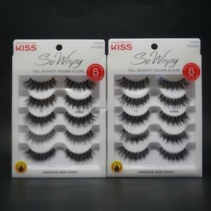 2X KISS So Wispy Lash - 5 Pairs - 55660 KPLM02- Full Bouncy, Volume, & Curl NEW