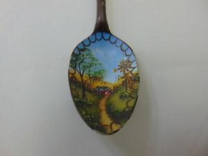 Barn Windmill country lane original art on spoon painted signed JoAnn 1986 FREE
