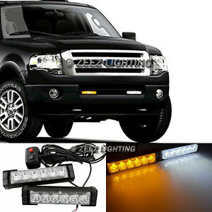White & Amber 12 LED Emergency Hazard Flash Warning Beacon Strobe Light Bar C92