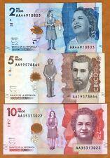 SET Colombia, 2000;5000;10000 Pesos 2015 (2016), P-New, AA-Prefix, UNC