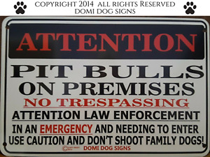 "Metal Attention Pit Bulls Dog Sign For FENCE ,Beware Of Dog 8""x12"""