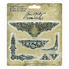Tim Holtz idea-ology Vignette Accents Ornate Thin Metal Embellishments 5 pc
