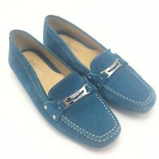 Geox Respira Sz 9 EUR 39 Women's Loafer Blue Suede Leather Shoes Driving Brazil