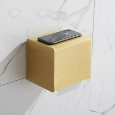 Aluminum Toilet Paper Roll Holder Bathroom Tissue Box Dispenser Waterproof Gold