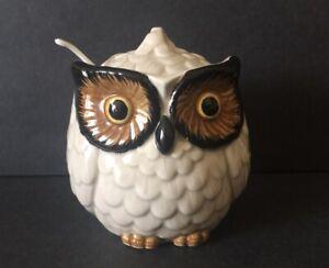 Vintage Otagiri Owl Hand Painted Sugar Bowl With Lid And Spoon Japan 1970's