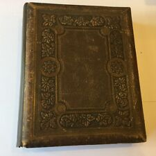 "ANTIQUE LEATHER BOUND VICTORIAN PHOTOGRAPH ALBUM - 11"" x 9"""