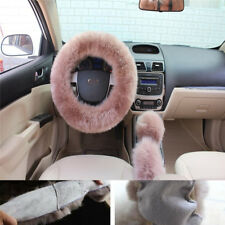 3pcs/set Fur Car Steering Wheel Cover Bean Paste Color Wool Furry Fluffy Thick