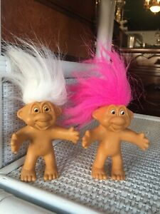 """2 DOLL Troll 4"""" Pink White Hair Norfin Just Toys Bendable Arms Set"""