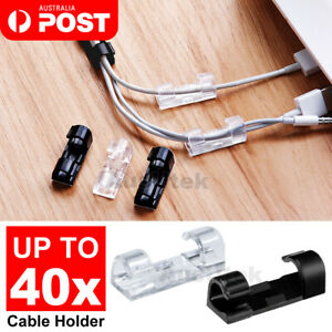 New Cable Clips Management Holder Cord Wire Line Organizer Self-Adhesive AU