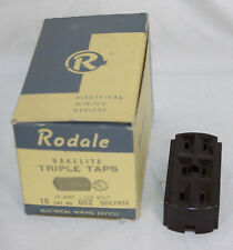 7 Vtg Rodale Bakelite Triple Taps Receptacles Electrical Wiring Brown 15A Stock