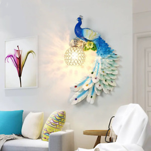 Modern Crystal Colour Peacock Wall Lamp Lighting Fixture Resin Wall Sconce