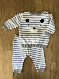 Nutmeg Baby Boy Outfit Jumper Trousers Knitwear 3-6 Months