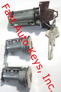Plymouth Ignition Switch Lock Cylinder + Pair Door Lock Cylinder W/2 Logo Keys
