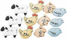 10 x PATCHY PIG Farm Animal Farmer Piglet Porker Novelty Plastic Craft Buttons