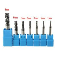 7Pcs 1-8MM 4 Flutes End Mill HRC50 Carbide Tungsten Milling Cutter Set CNC Tool