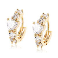 Heart Crystal Earings Kids Girls Childrens Safety Cute Hoop earrings Gold Filled
