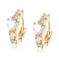 Baby Girls Childrens Safety Princess Heart Crystal Hoop earrings Gold Plated