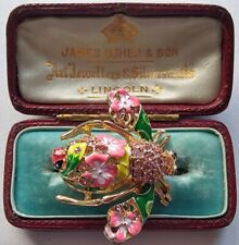 Superb Diamante CRYSTAL Fine ENAMEL Vintage Style Pink LADYBIRD BEE Brooch