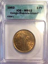 CONGO 1952 5 Franc Brass, ICG MS62 Circulation Strike