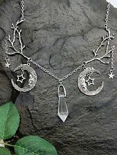 Glass Jewels plata cadena Collier vintage Fantasy luna acrílico piedra Gothic #m044