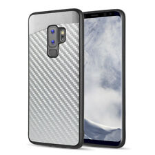 SAMSUNG GALAXY S9 PLUS G965 SILVER CARBON FIBER MERCER MAGNETIC BACK CASE COVER