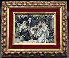 Antiq. French Stevengraph Neyret Freres Woven Silk Picture Tapestry Grandparents