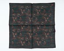 "Isaia Brown Green Geometric Print Pocket Square Wool Silk Blend 13"" 33 cm"