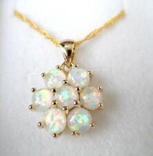 GORGEOUS WHITE  FIRE OPAL  GOLD PLATED  PENDANT