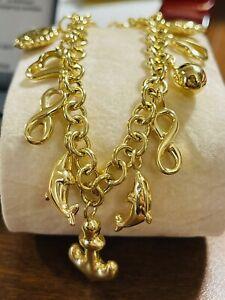 "18K 750 Fine Saudi Gold 7"" Long Womens Heart Charm Bracelet With 11.5g 5mm Wide"