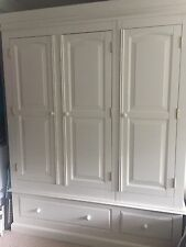 Large white painted pine triple wardrobe great condition