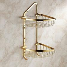 Polished Gold Corner Shower Caddy Bathroom Shelf Organizer Bath Storage Basket