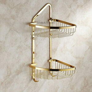 Polished Gold Corner Shower Caddy Bathroom Shelf Organizer Bath Storage Basket