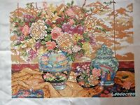 "NEW Completed finished cross stitch needlepoint""Classical vase""home decor gift"