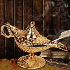 Metal Carved Legend Lamp Aladdin Magic Genie Light Wish Pot Collectable 21x11cm