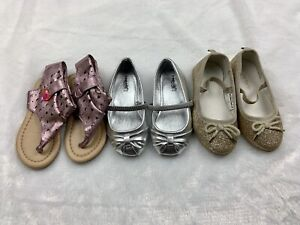 Toddler Girl Pink Sandals + Silver & Gold Flats - Size 6