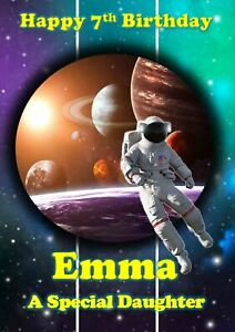PERSONALISED Spaceman Space Astronaut  Birthday Card Name Age Relation BOY GIRL