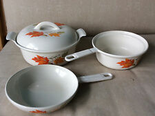 Vintage Descoware maple leaves 2-in-1 saucepan skillet and covered casserole pot