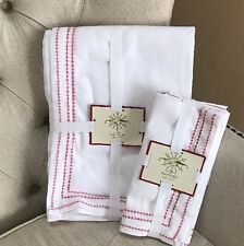 """5pc DOMAIN HOLIDAY Tablecloth Napkins 60""""x 108"""" CHRISTMAS Cotton White Red"""