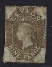 CEYLON : 1861 nine penny light brown rough  perfs SG33a used