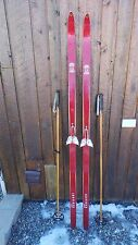 """VINTAGE Wooden 72"""" Skis Has  RED Finish  + Bamboo Poles"""