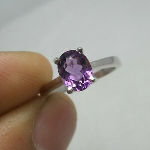 8x6 MM Natural AAA Amethyst Gemstone 925 Sterling Silver Beautiful Unisex Ring