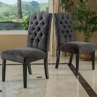 Set of 2 Elegant Tufted Grey Linen Upholstered Crown Back Dining Chairs