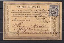 Carte précurseur 1876 pour clermont CAD  BM boite mobile ..très  RARE