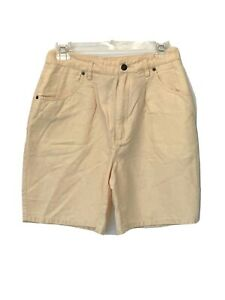 Talbots Petite Pale Yellow Linen Blend Shorts Vintage Mom Bermuda Walking 10P