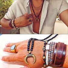 Moon necklace Onyx Gems Men Neckless Long Boho Necklace Handmade mens necklace