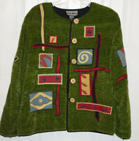 Vtg Indigo Moon Women's Size M Chenille Tapestry Jacket Sweater Green Folk Art