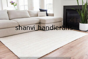 Indian Braided Jute Rug Natural Handmade Rectangle 5x8 Feet Floor Decor Area Rug