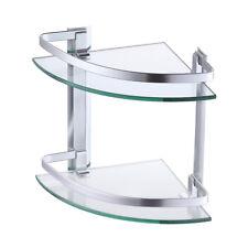 Shower Bathroom Corner Glass Shelf 2 Tier Level Caddy Organiser