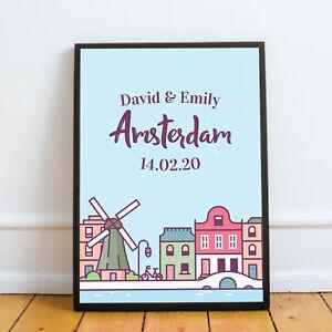 Personalised Amsterdam Trip Print Holiday Reveal Travel Keepsake Gift Girlfriend